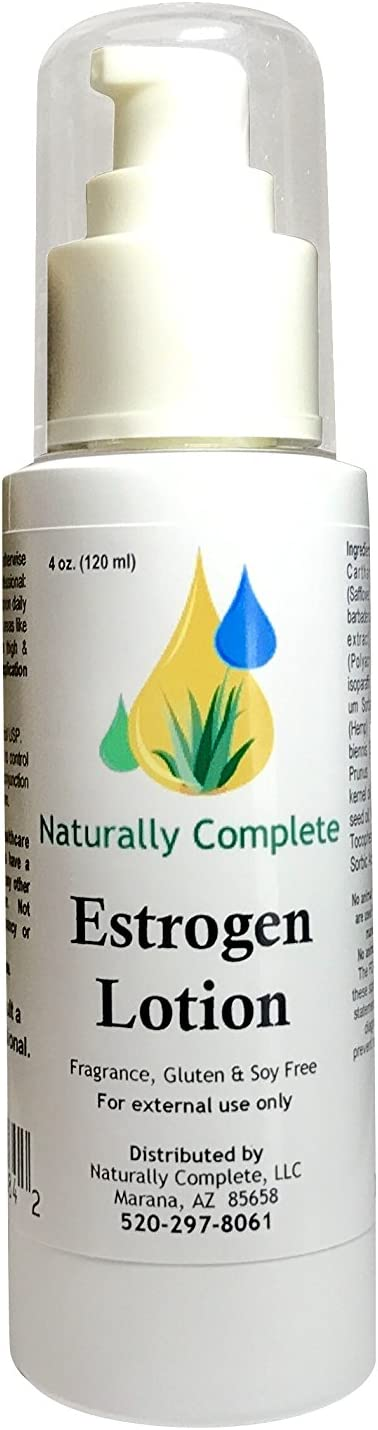 Naturally Complete Estrogen Lotion 4 oz. Pump Bottle | Menopause Relief | Non GMO | Soy Free | Gluten Free | Fragrance Free