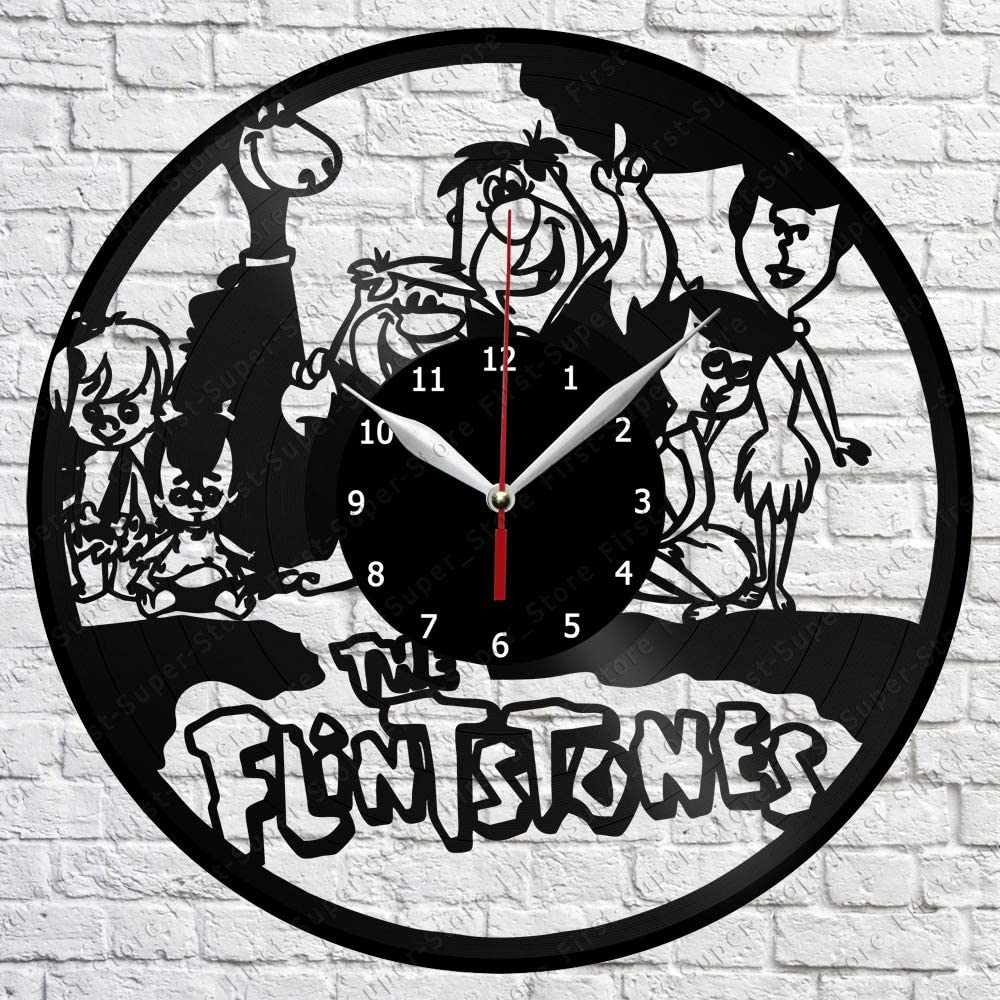 """Vinyl Clock - The Flintstones - Handmade Wall Clock - Vinyl Art Home Decor - Unique Vinyl Record Wall Clock - Custom Exclusive Vinyl Record Clock - Original Gift Idea - Black Clock 12"""""""