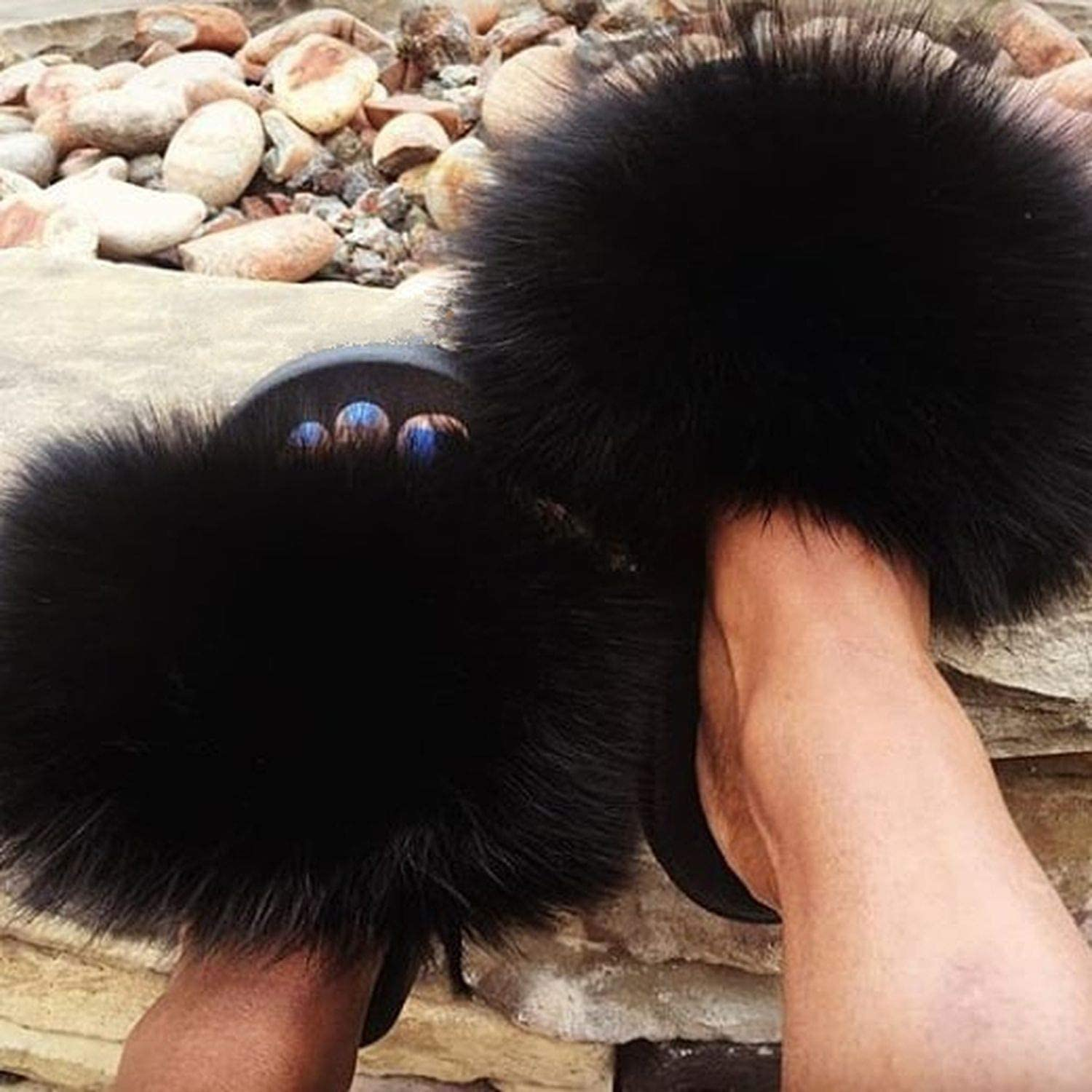 2019 Fox Fur Slide for Women Cut Slippers Fluffy Sliders Plush Furry Summer Flats Sweet Ladies Shoes Big Size 36-45,See as pic,9