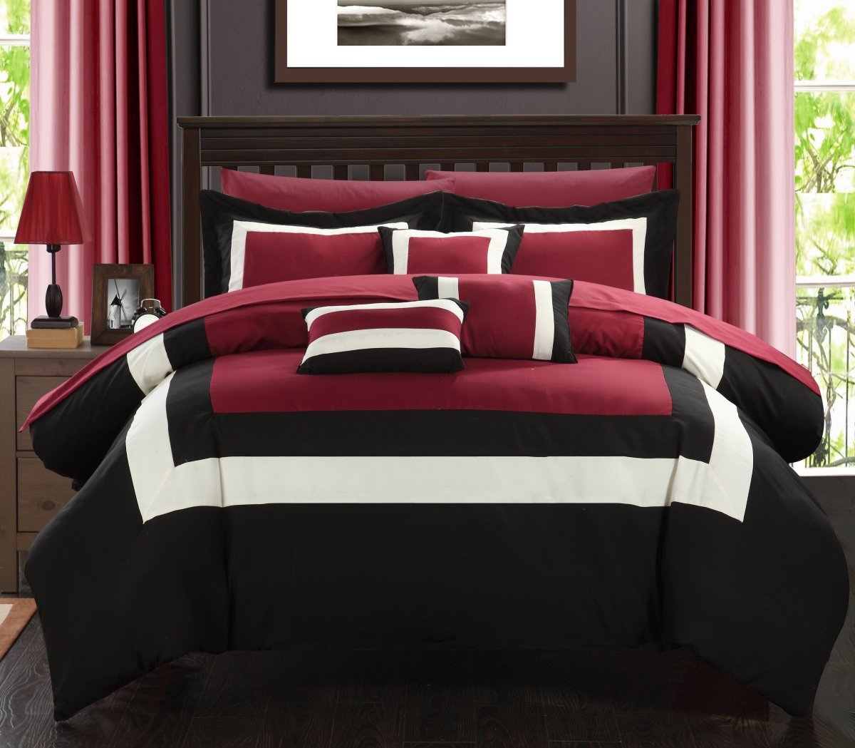 Chic Home Duke 10 Piece Comforter Set Complete Bed in a Bag Pieced Color Block Patterned Bedding with Sheet Set And Decorative Pillows Shams Included, Queen Black Red