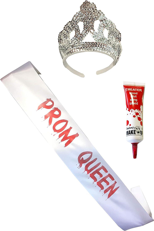 Prom Queen Halloween Costume Sash Tiara Crown Zombie Fake Blood Tube Women Girls