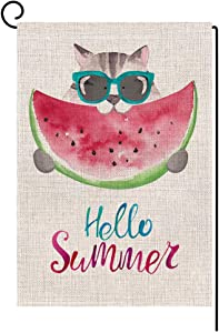 Hello Summer Watermelon Small Garden Flag Vertical Double Sided 12.5 x 18 Inch Funny Cat Burlap Yard Outdoor Decor