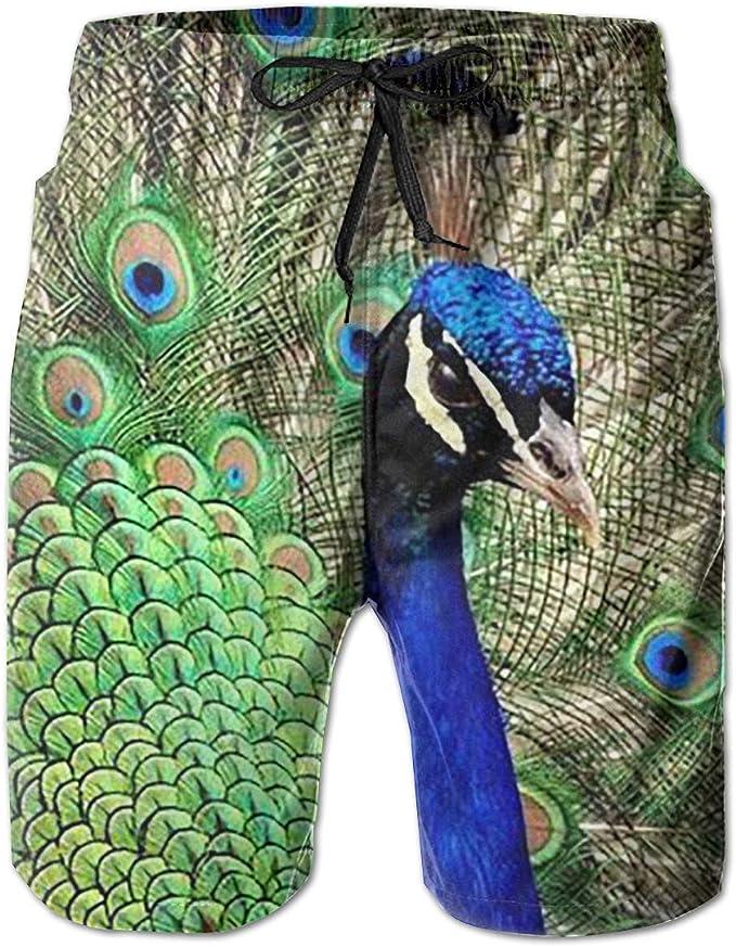Tyugvvo Colored Feathers Funny Swim Trunks Quick Dry Beachwear Sports Running Swim Board Shorts Mesh Lining
