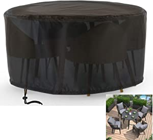 """Rilime Patio Furniture Set Cover Round, Waterproof Anti-UV Outdoor Table Chair Set Cover Garden Rattan Table, Sofa, Sectional Cover Fits for 4 Seater(73"""" D x 43"""" H)"""