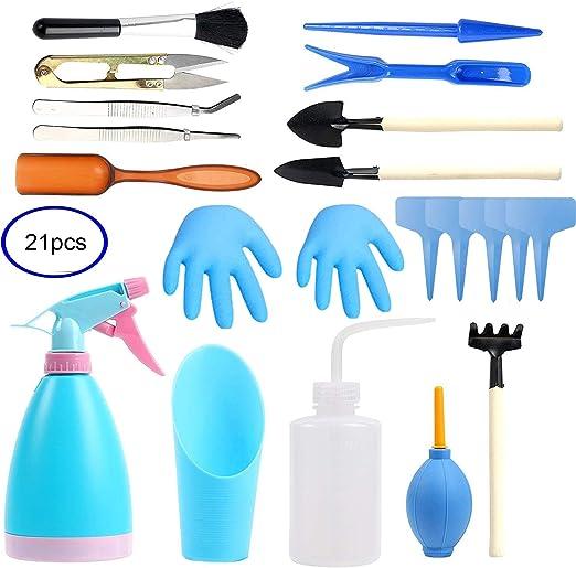 Juego de herramientas de jardín pequeñas, 21 piezas de herramientas para trasplantar a mano suculentas pequeñas herramientas de jardinería para cuidado interior de plantas en miniatura de jardín, azul: Amazon.es: Jardín