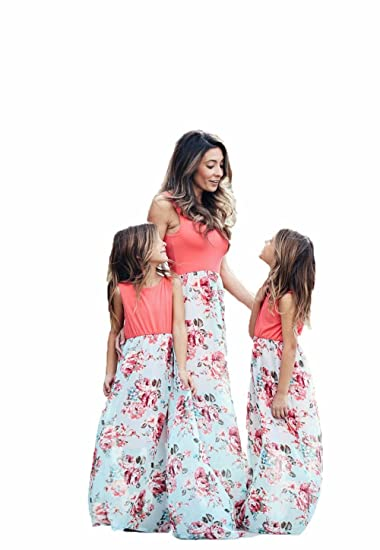 0ea1017dfb Mother Daughter Family Matching Long Maxi Sundress Daily Beach Dress  Parent-Child Outfits (Kid