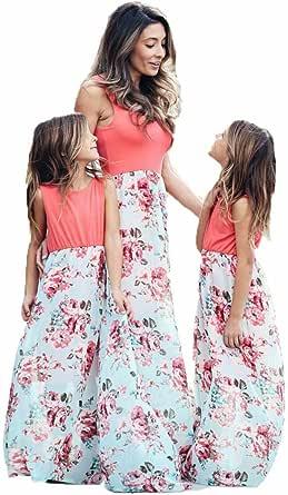 Mother Daughter Family Matching Long Maxi Sundress Daily Beach Dress Parent-Child Outfits