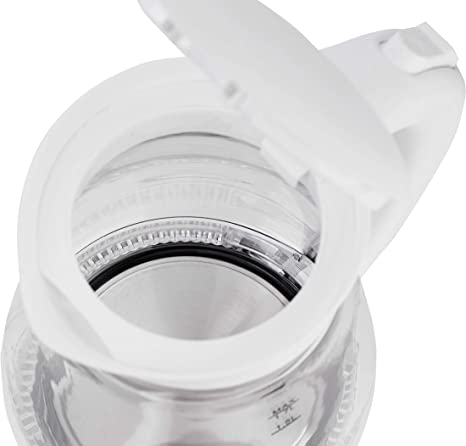 Adler AD1274 Hervidor de Agua Eléctrico de Cristal, 1,7L, 2200W, Iluminación LED, Libre de BPA, 2200 W, 1.7 litros, Vidrio, Blanco: Amazon.es: Hogar