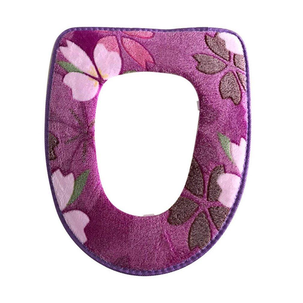 Floral Printing Warm Comfortable Coral Velvet Toilet Seat Covers Pedestal Pan Cushion Pads Bathroom Decoration purple
