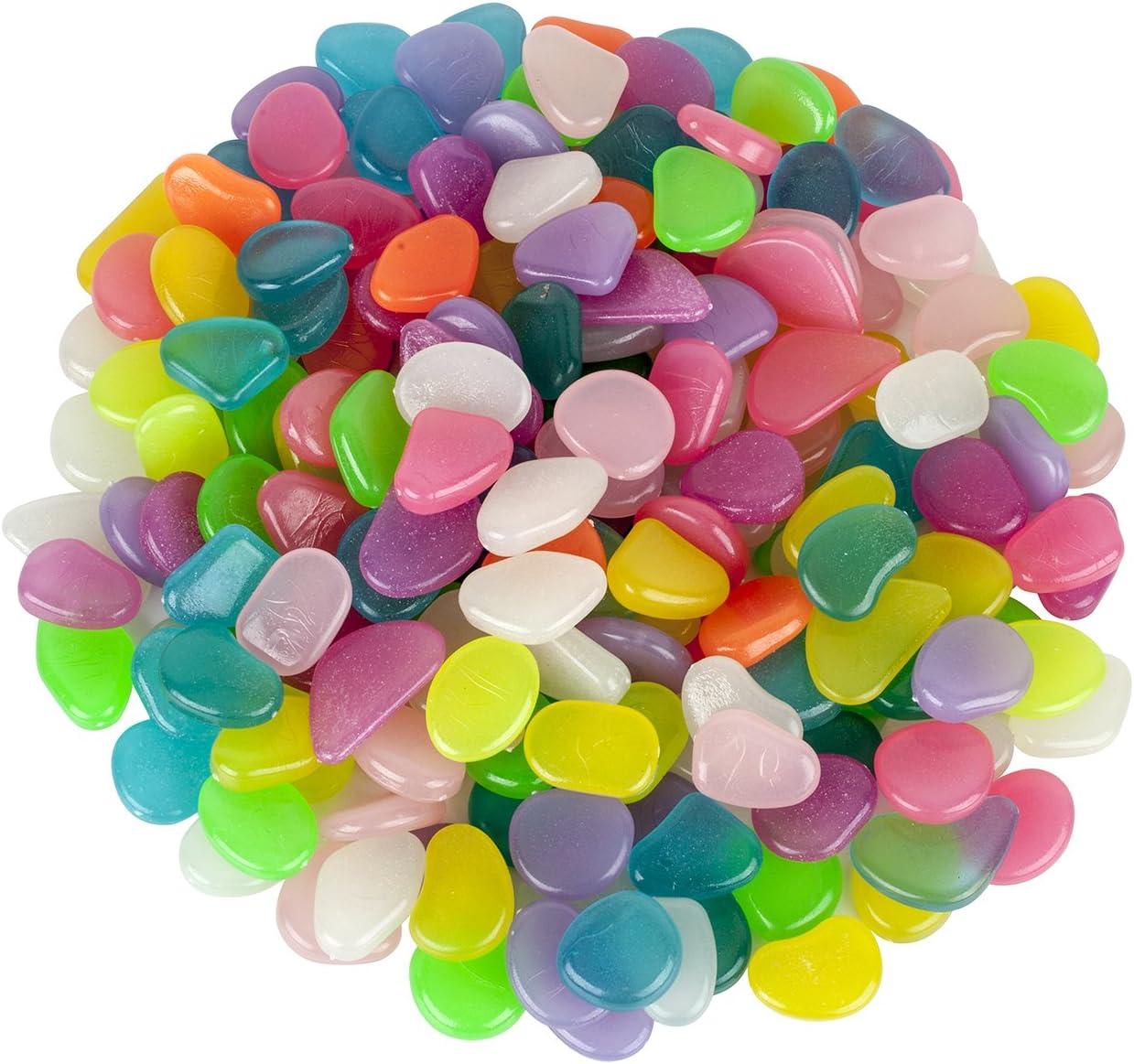 Alexen 200 Piezas de Colores Brillantes guijarros del jardín, Brillan en la Piedra Decorativa Oscura para la decoración de los pasillos, Piedras Luminosas para el pote de Las Plantas