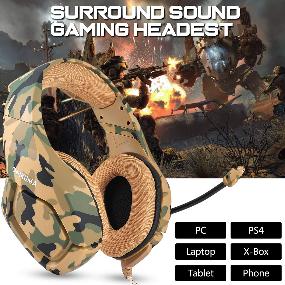 Auriculares Gaming para PS4 Nuevo Xbox One PC Mac, ONIKUMA Over Ear Auriculares de 3.5mm con micrófono Cancelación de Ruido Deep Bass Estéreo Surround para ...