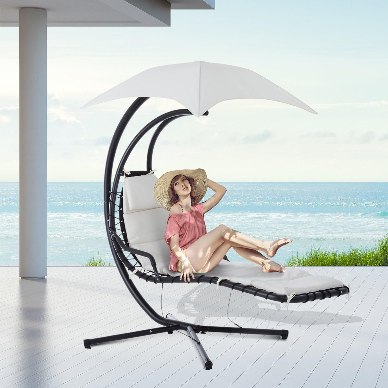 Outsunny Poltrona Sdraio Relax Chaise Lounge Lettino Prendisole con Tettuccio Giardino 194 /× 117 /× 192cm Crema