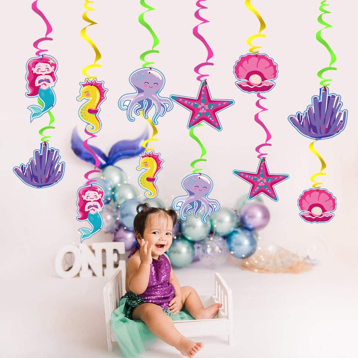 Marine Birthday Party Decorations Mermaid Themed Party Supplies 30 pcs Mermaid Hanging Swirls