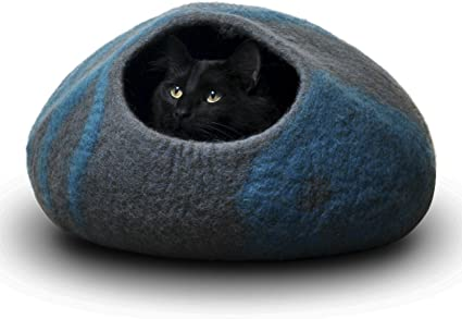 Juccini Handcrafted Felted Wool Cat Cave Bed for Cat and Kittens New Felted..