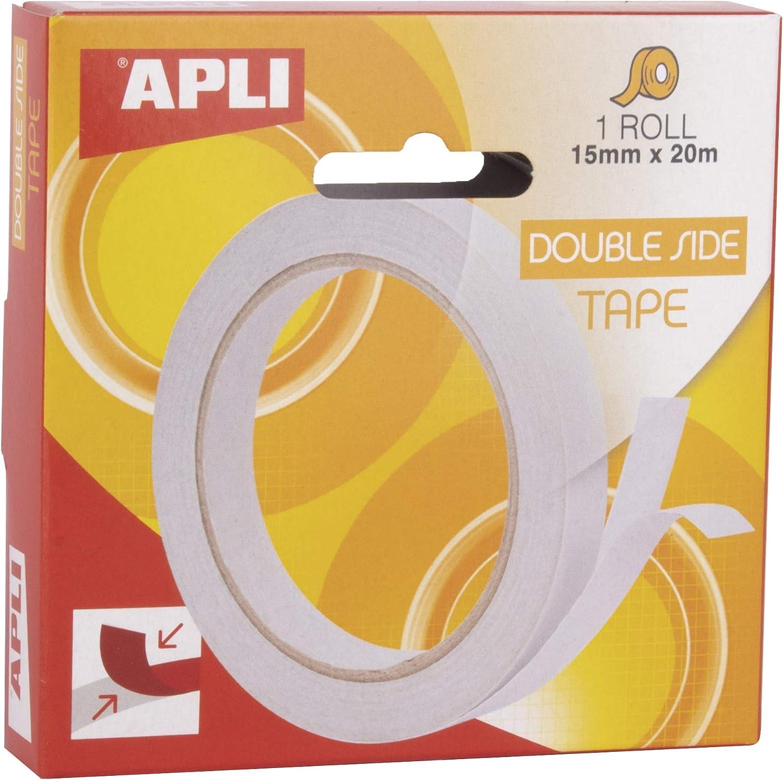 APLI 17723 - Cinta adhesiva doble cara 15 mm x 20 m