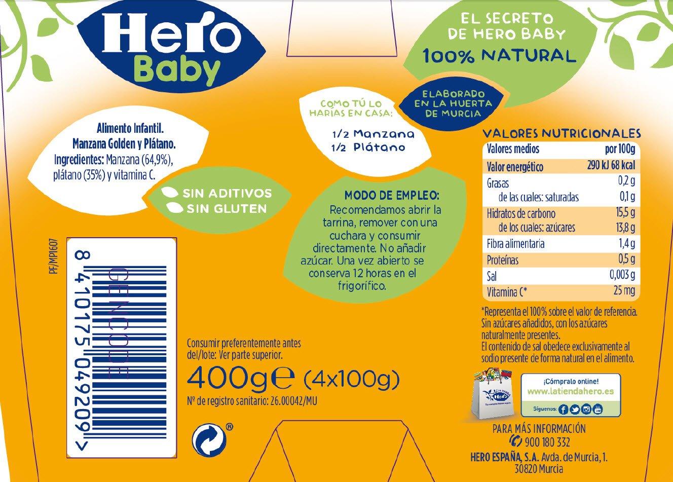 Hero Baby Tarrina de Fruta Manzana Plátano - 4 Unidades x 100 gr: Amazon.es: Alimentación y bebidas