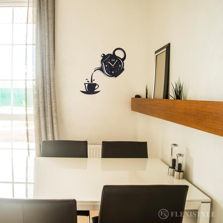 Modern kitchen wall clock JUG /& CUP black silent non ticking FLEXISTYLE