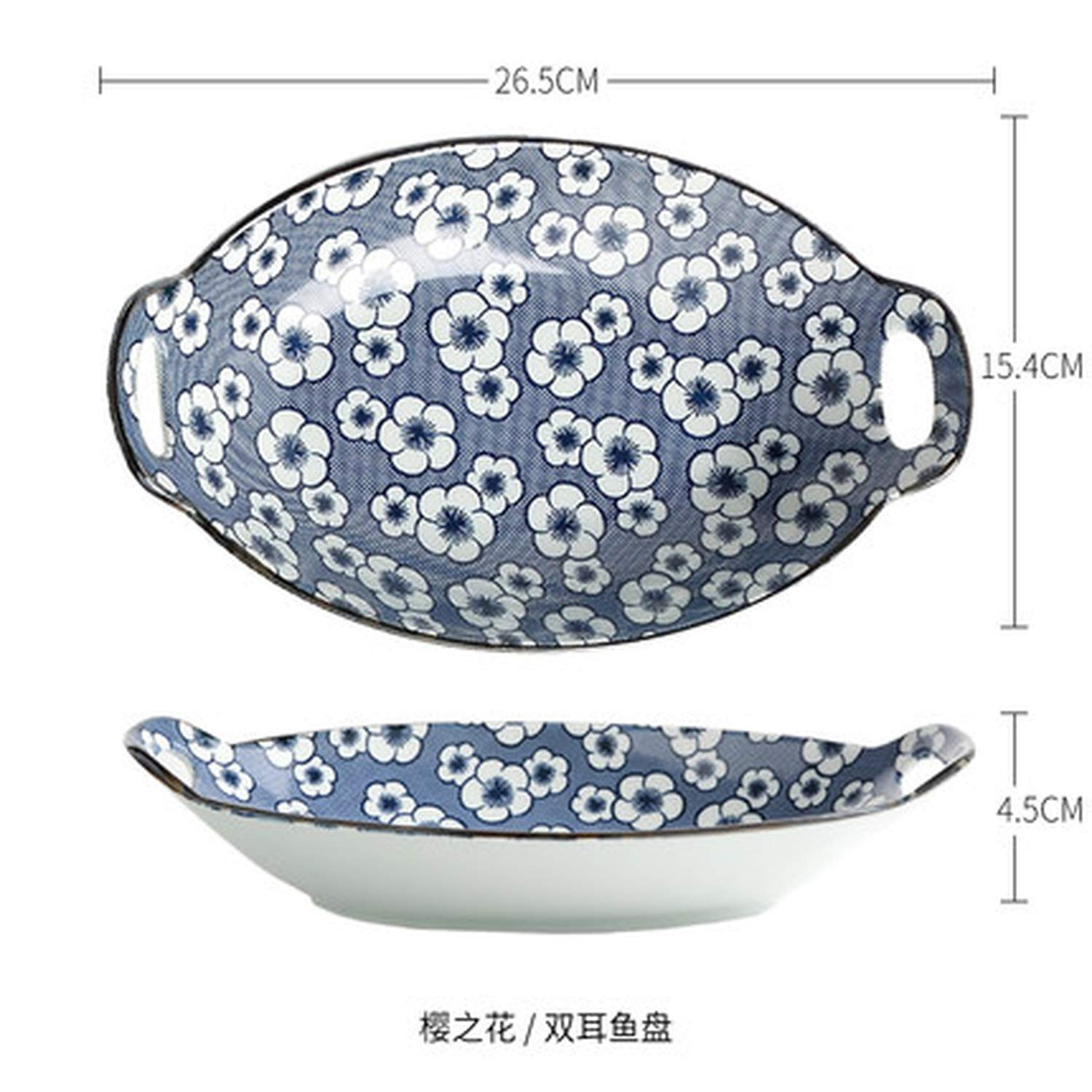 10 inch Creative two eared boat Steamed fish plate Japanese Ceramic Dinner Plate Big Baking tray,03 Style