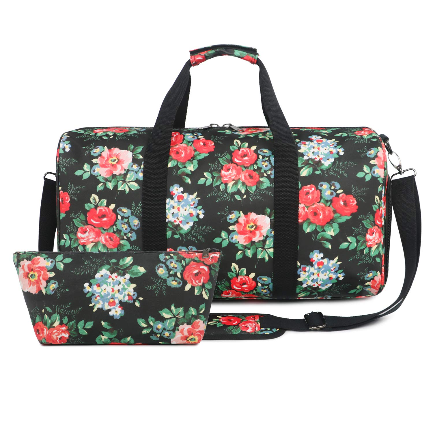Oflamn Large Duffle Bag Canvas Leather Weekender Overnight Travel Carry On Tote Bag with Shoe Compartment and Free Toiletry Bag