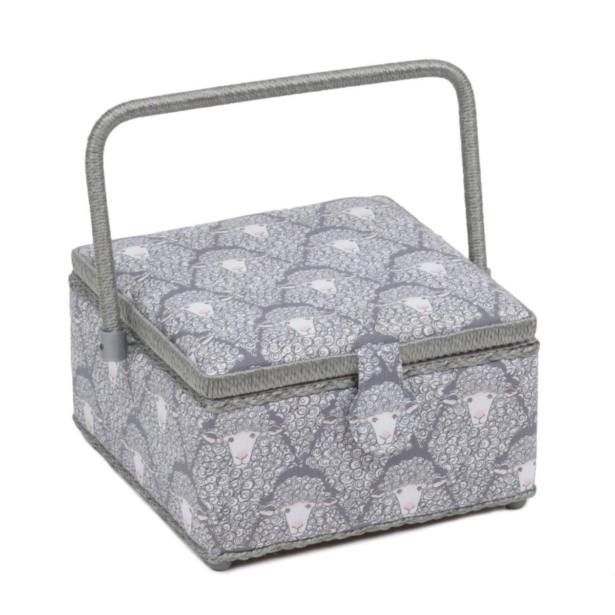 Hobby Gift Classic Square Medium Sewing Box Grey Sheep by Hobby Gift