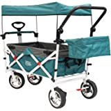 Push Pull Wagon for Kids, Foldable with Sun/Rain Shade (Teal)