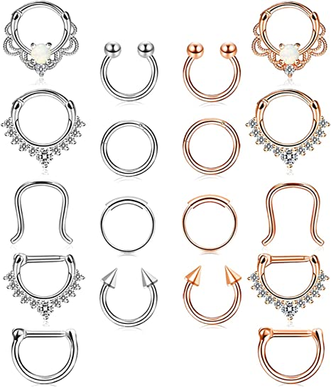 Amazon Com Udalyn 18 Pcs Stainless Steel Septum Hoop Nose Rings