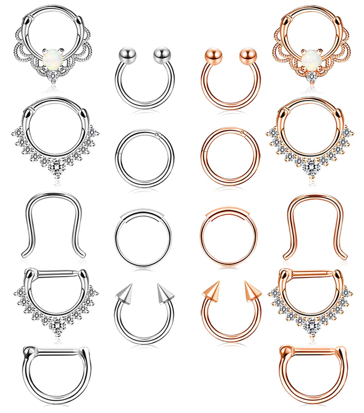 Udalyn 18 Pcs Stainless Steel Septum Hoop Nose Rings Cartilage Rings Clicker CZ Body Piercing Jewelry by Udalyn