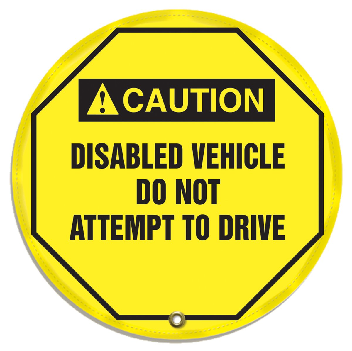 Black on Yellow ANSI-Style LegendCAUTION DISABLED VEHICLE DO NOT ATTEMPT TO DRIVE 24 Diameter Accuform Signs ANSI-Style LegendCAUTION DISABLED VEHICLE DO NOT ATTEMPT TO DRIVE 24 Diameter Accuform KDD739 STOPOUT Vinyl Steering Wheel Message Cover
