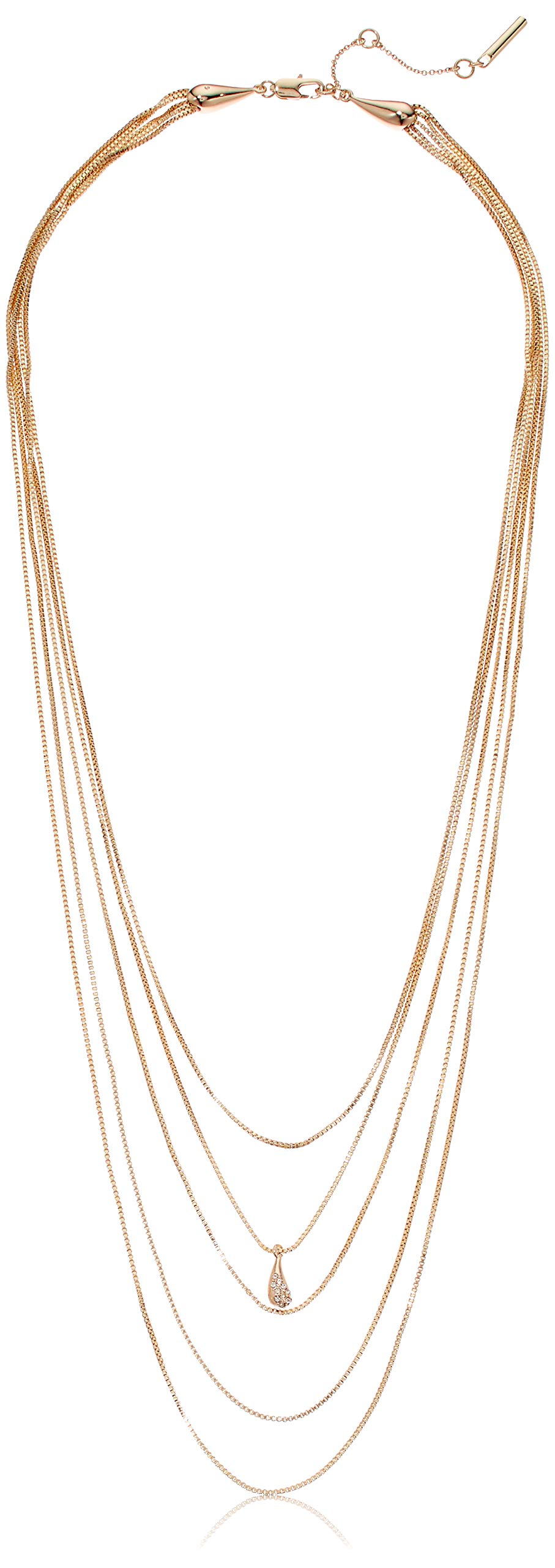 H Halston Women's Pave Teardrop Delicate Multi Row Necklace, Crystal, One Size