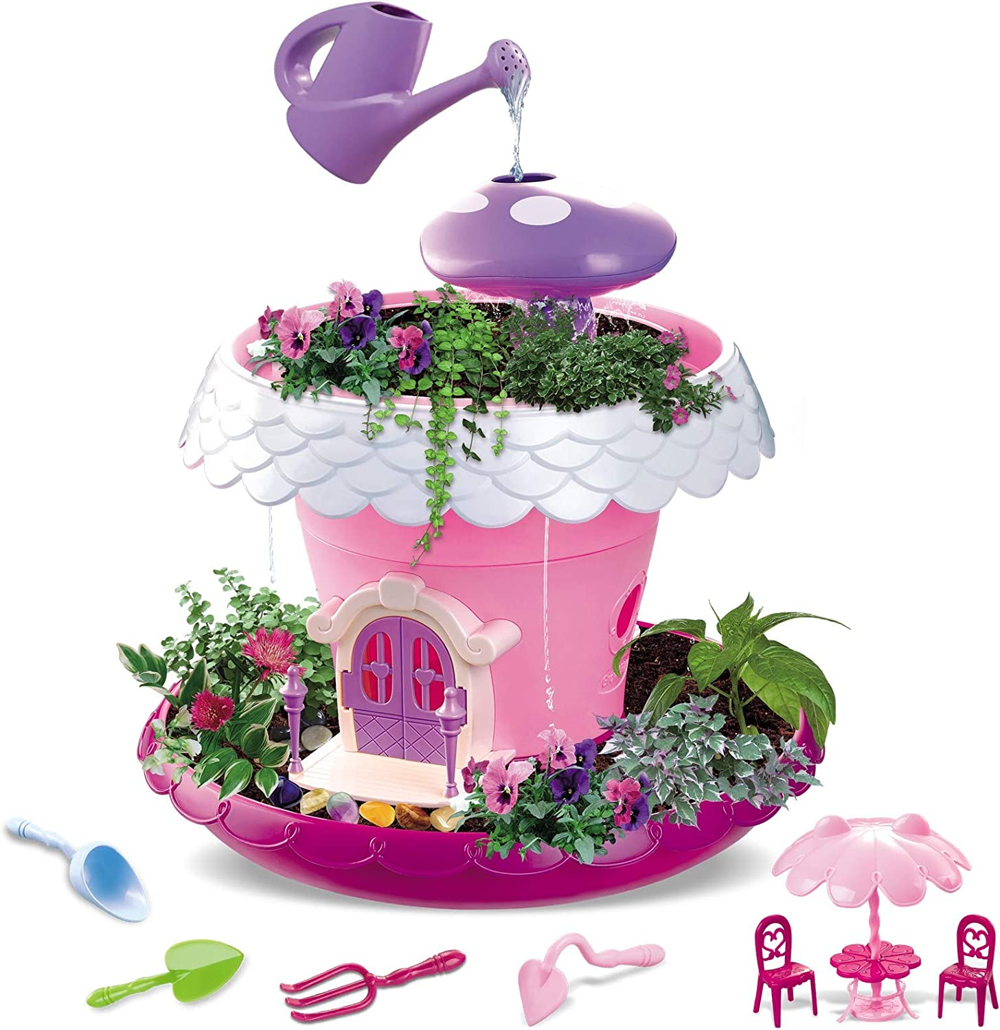 Vokodo Kids Magical Garden Growing Kit Includes Tools Seeds Soil Flower Plant Tree House Interactive Play Fairy Toys Inspires Horticulture Learning Great Gift for Children Pink