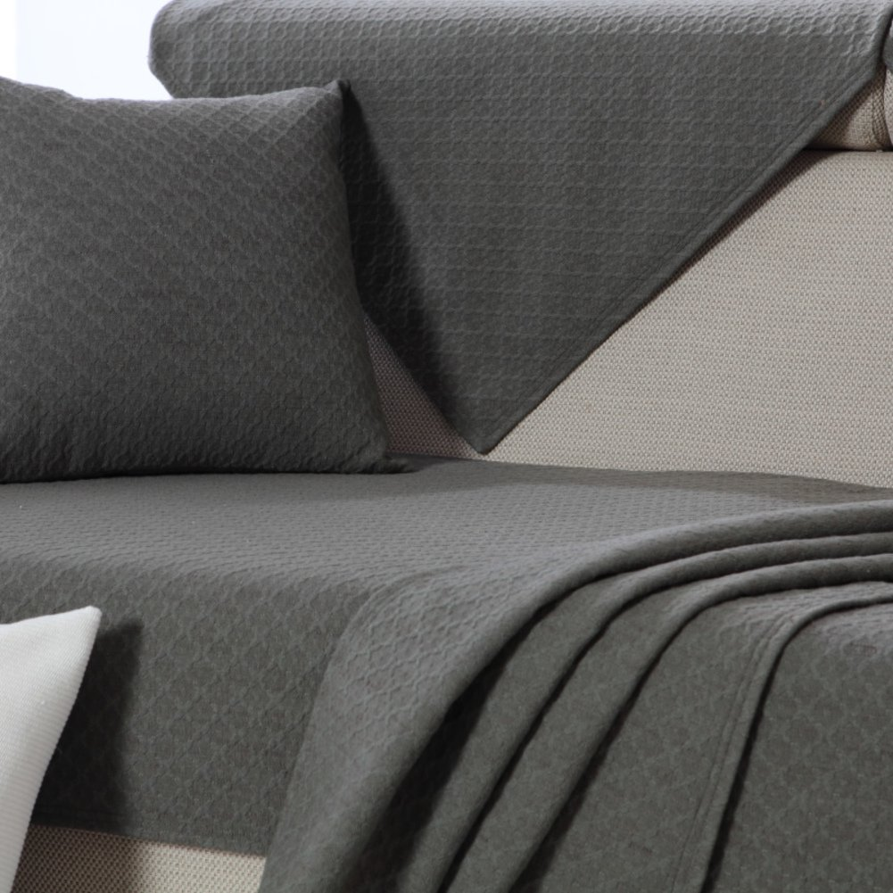 100% cotton sofa towel cover Sofa slipcover For 3 cushions,1-piece vintage couch cover anti-slip jacquard Cotton sofa slipcover furniture protector-grey-B 110x150cm(43x59inch)