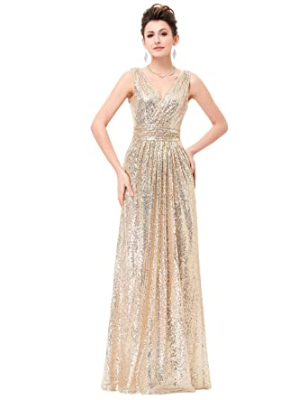 Kaitaijidian Womens Long Sequin Evening Dres Party Formal Prom Dresses - Gold - 18