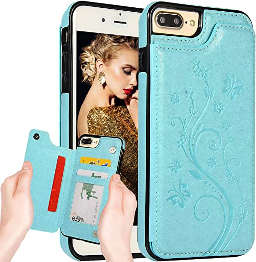 Auker iPhone 7 Zipper Wallet Case,iPhone 8 Flip Case for Women//Girl,iPhone SE 2020 Purse Case Leather Folio Cover with Card Holder Stand Flower Embossed Magnetic Closure Protective Fold Case Black