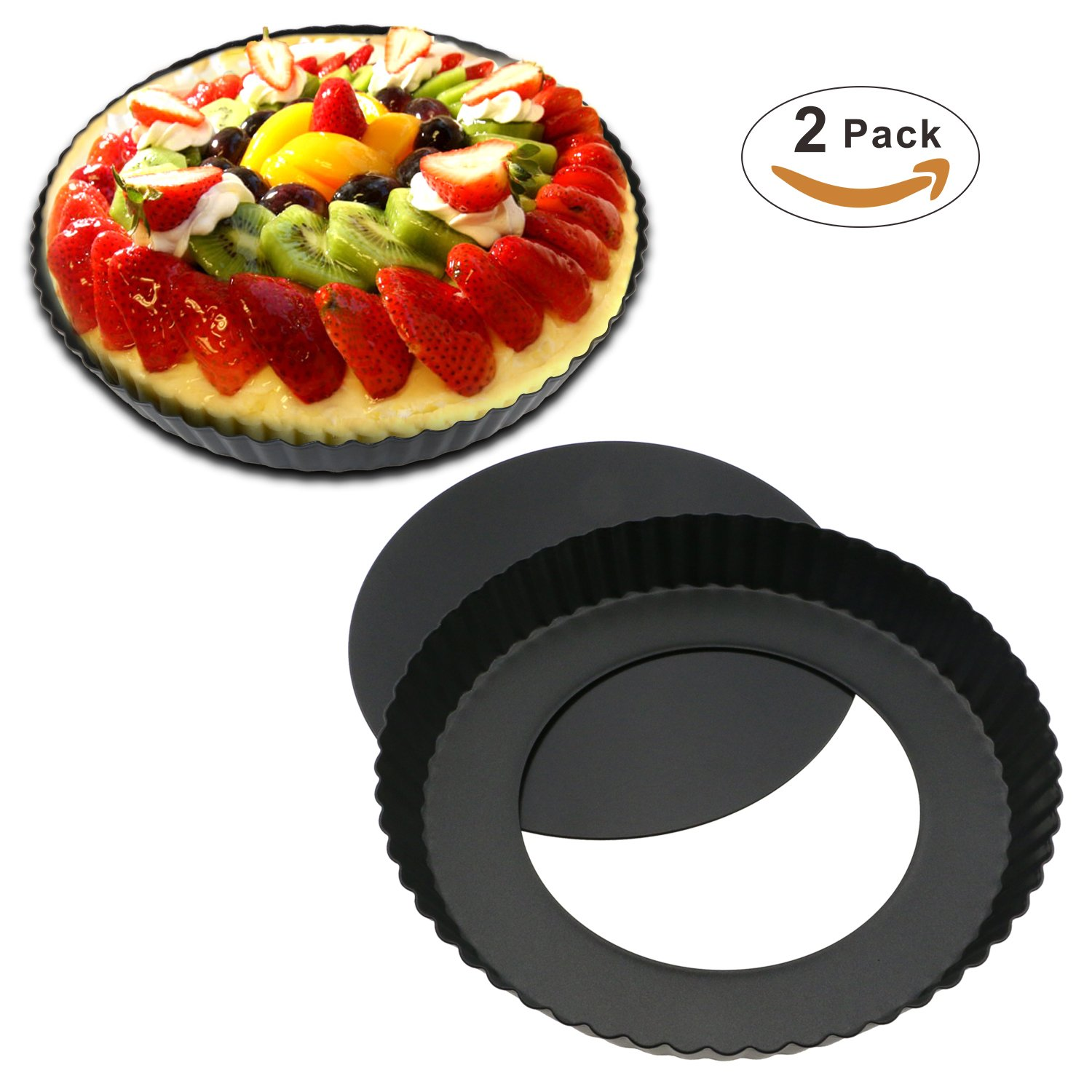 TedGem 2 Pack 8.8 Inches Non-Stick Removable Loose Bottom Quiche Tart Pan Tart  sc 1 st  Amazon.com : temptations pie plate - pezcame.com