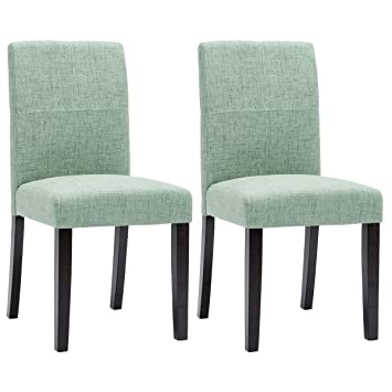 Enjoyable Merax Fabric Dining Chairs Set Of 2 With Solid Wood Legs Dining Room Furniture Green Andrewgaddart Wooden Chair Designs For Living Room Andrewgaddartcom