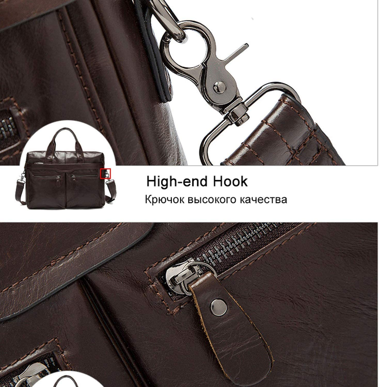 Leather Laptop Briefcase Bag 14 Business Men Briefcase Totes Document//Office Bags For Men Computer Bag Male Messenger Bag,9005Blackglossy