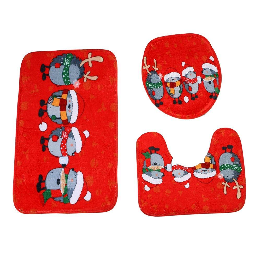 Christmas Dé cor, AIEason Merry Christmas Pedestal Rug + Lid Toilet Cover + Bath Mat 3PC/Set (Multicolor-A)