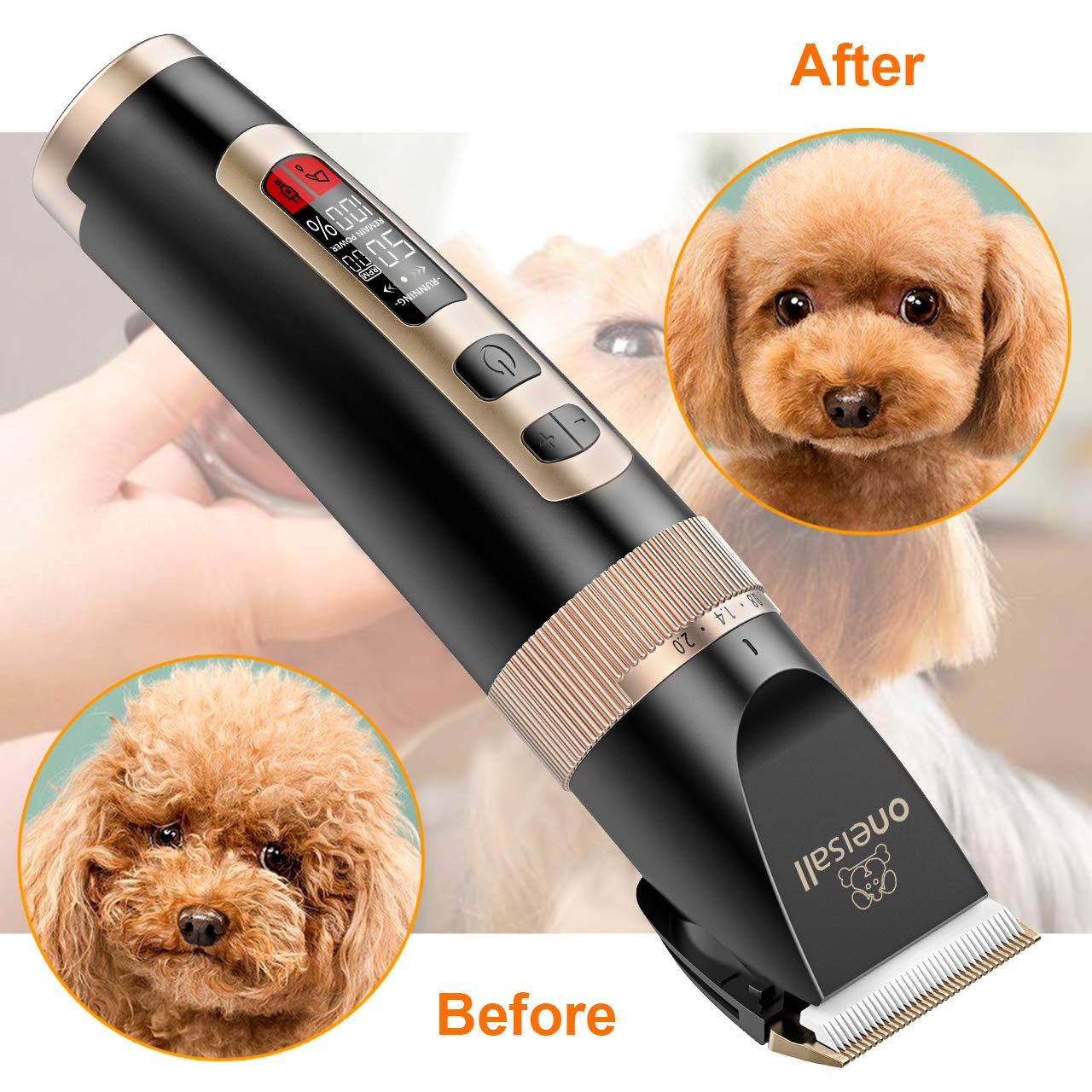 oneisall Dog Clippers Professional, 3-Speed Quiet Rechargeable Cordless Pet Grooming Hair Clippers Set for Small and Large Dogs Cats-Black by oneisall (Image #6)
