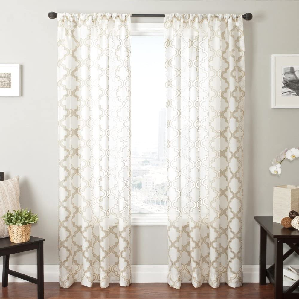 Softline Home Fashions Window Sheer/Panel/Drape/Curtain with Rod Pocket, Champagne/White, 55 x 84