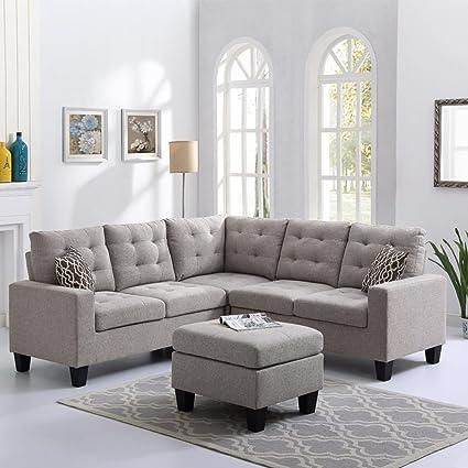 Amazon.com: Oadeer Home Linen Fabric Sofa Reversible Corner ...