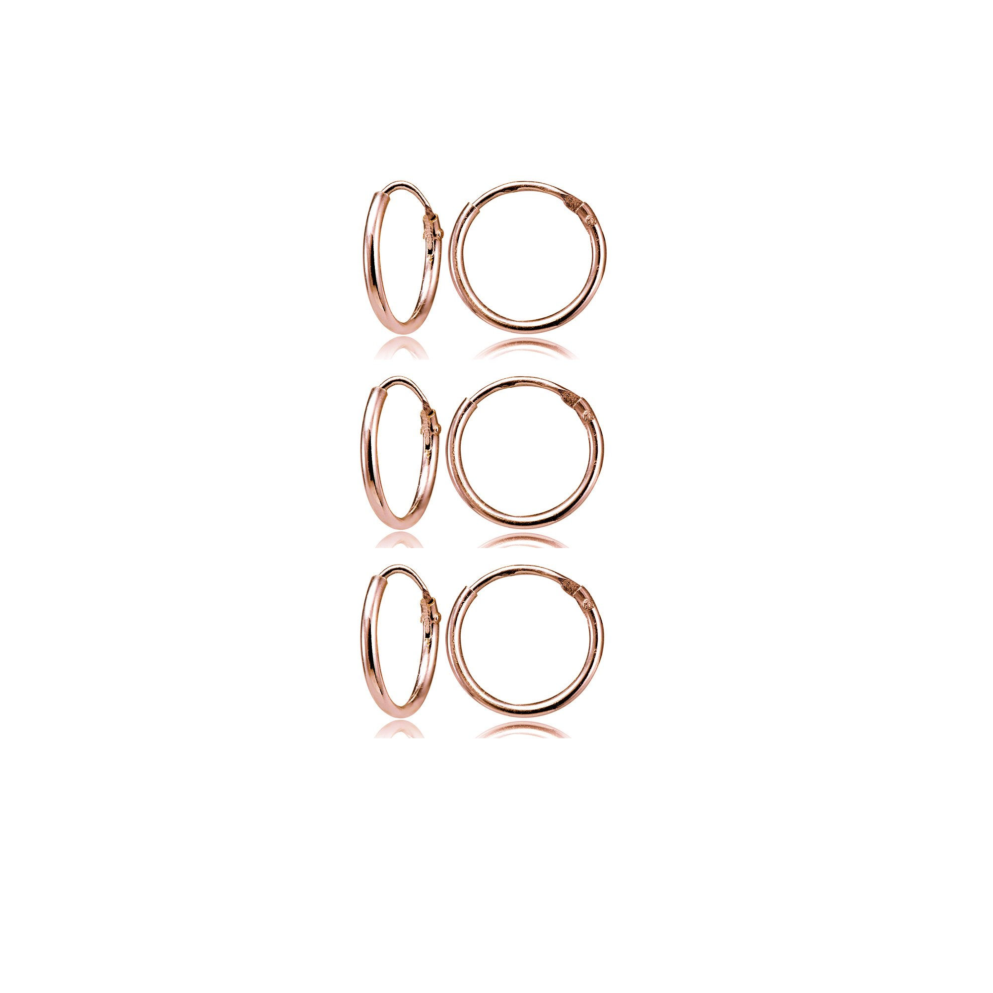 Rose Gold Flashed Sterling Silver Small Endless 10mm Round Unisex Hoop Earrings, Set of 3 Pairs