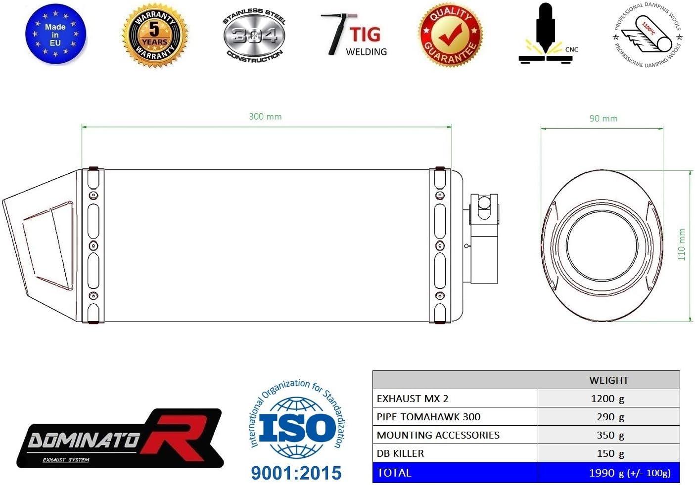 TOMAHAWK 300 Pot d/échappement MX CARBON Silencieux Dominator Exhaust Racing Slip-on