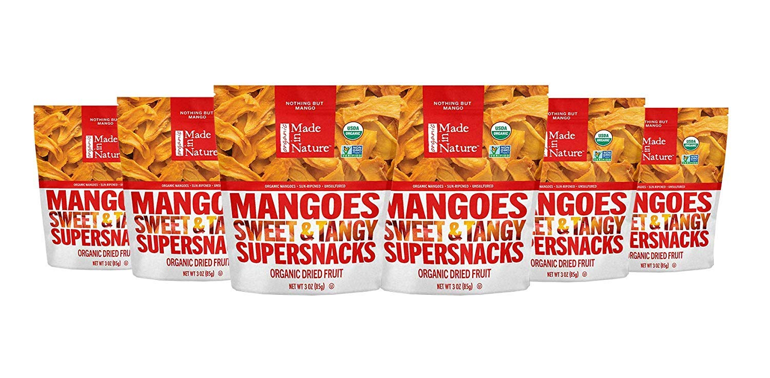 Made In Nature Organic Dried Mangoes, 3 oz (Pack of 6) - Non-GMO Vegan Dried Fruit Snack