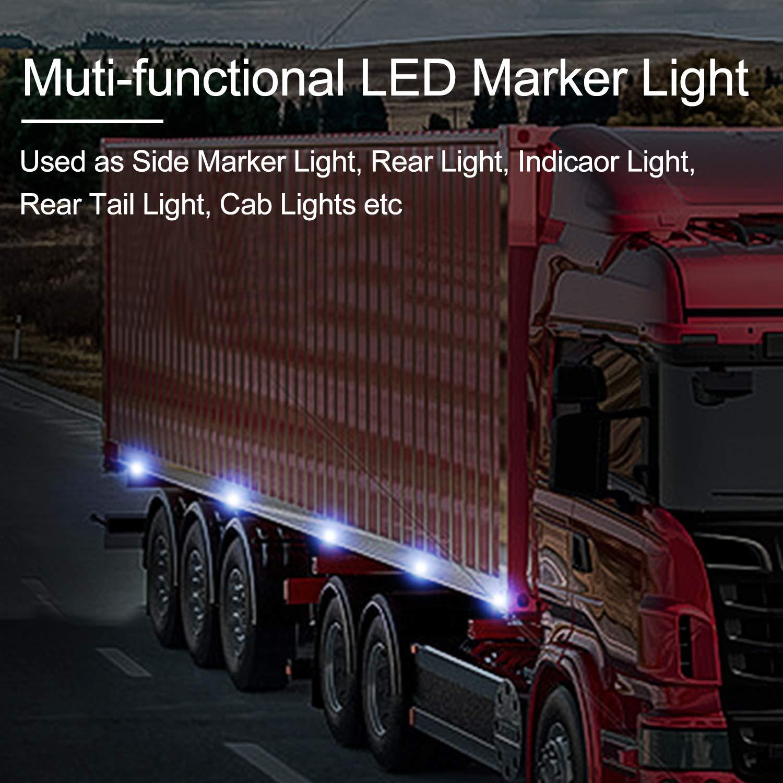 Luce Laterale da Camion,YuanGu Rosso Led Indicatori Laterali LED Fanali Posizione 12V//24V Universale per Camion Caravan Camper Rimorchio Bus 4 Pcs