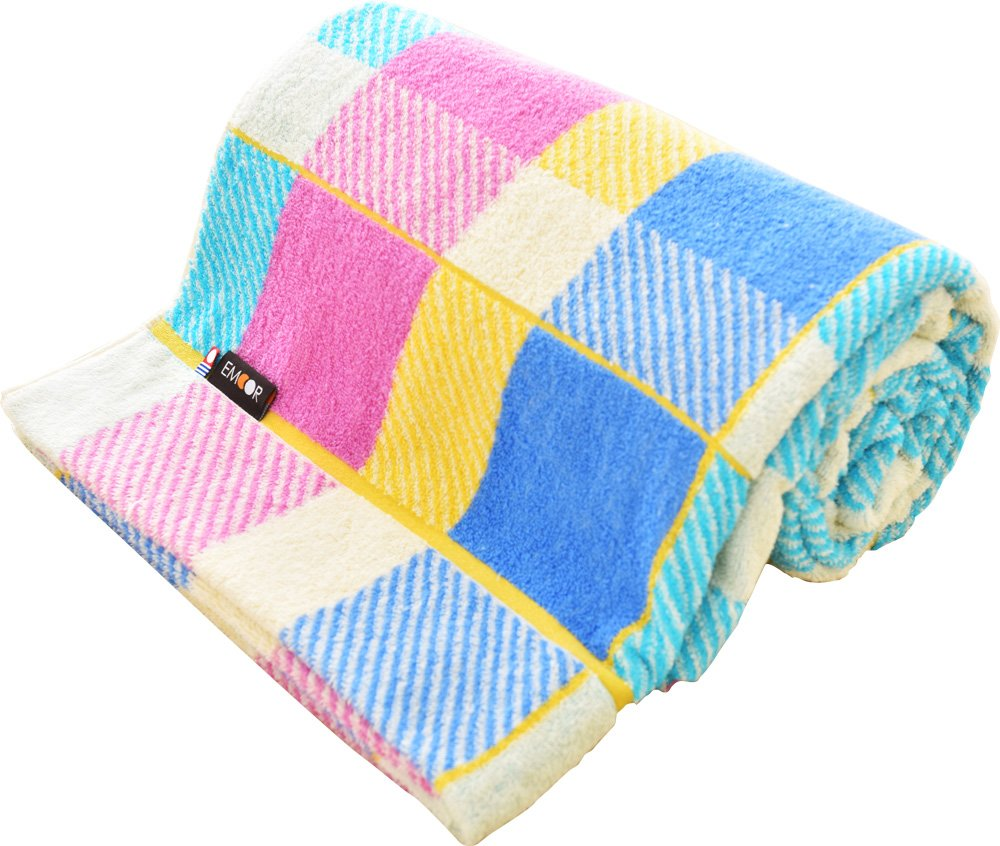 EMOOR Imabari Cotton Pile Blanket (Checkered Blue) - Single Size. Made in Japan (japan import)