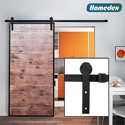 Bon Homedex 8 Ft Sliding Barn Door Hardware Kit Antique Style (Black)