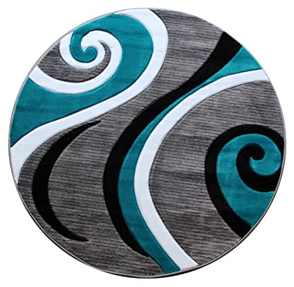 Masada Rugs Sophia Collection Hand Carved Round Area Rug Modern Contemporary Turquoise Grey White Black 4 Feet X 4 Feet Round