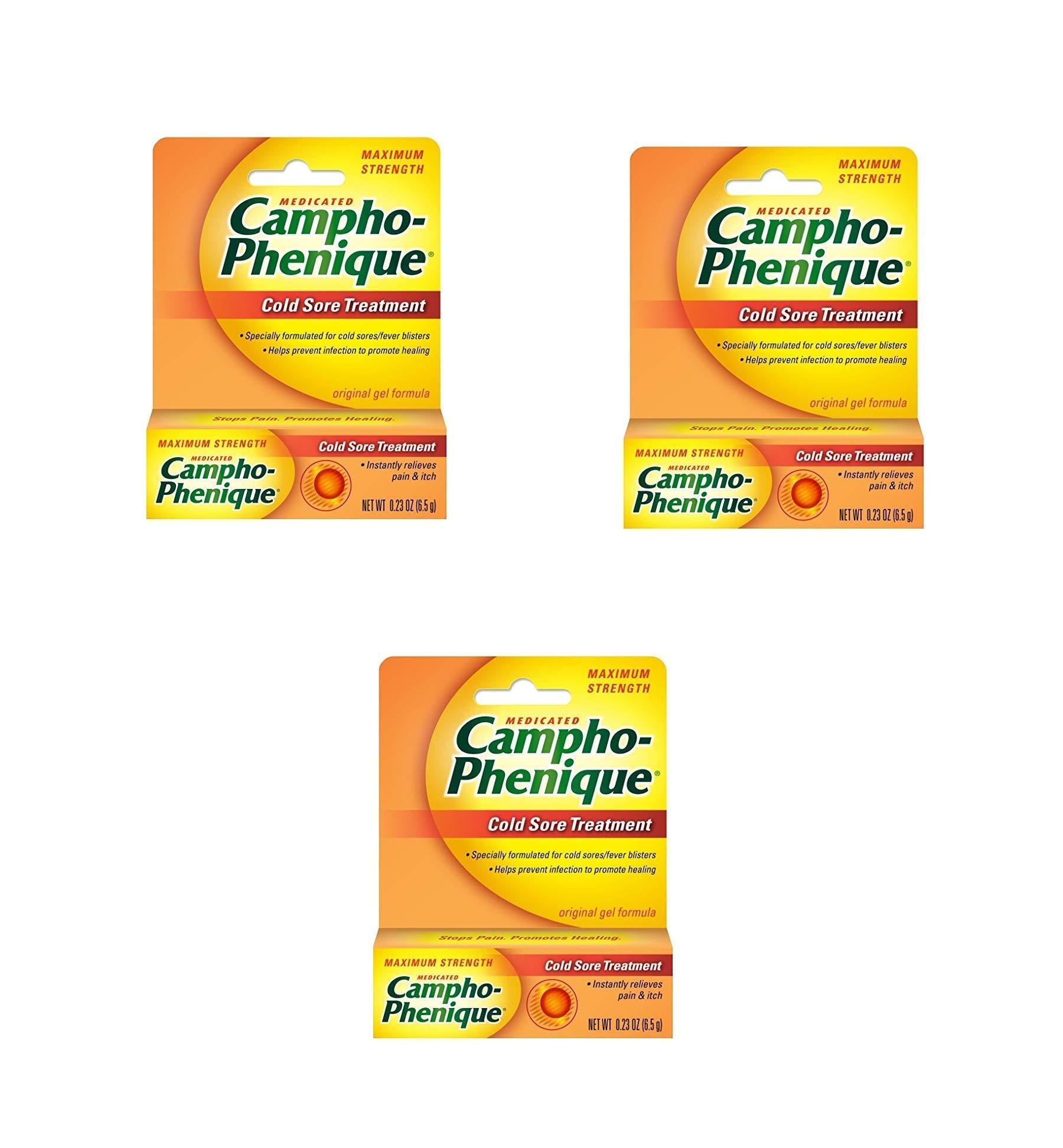 Campho-Phenique Cold Sore Treatment, Maximum Strength, 0.23 Ounce (3)