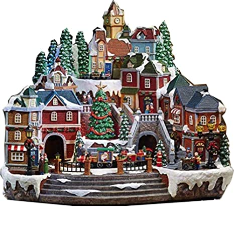 Christmas Villages.Christmas Village Animated With Lights Music And A Rotating Tree And Train