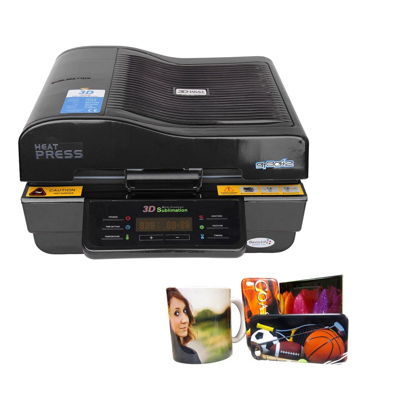 PanelTech 110V 3D Vacuum Heat Press Machine Transfer Sublimation Printer T-shirt Phone Cover Mug Printer W/ 3pcs of Mug Clamper by PanelTech